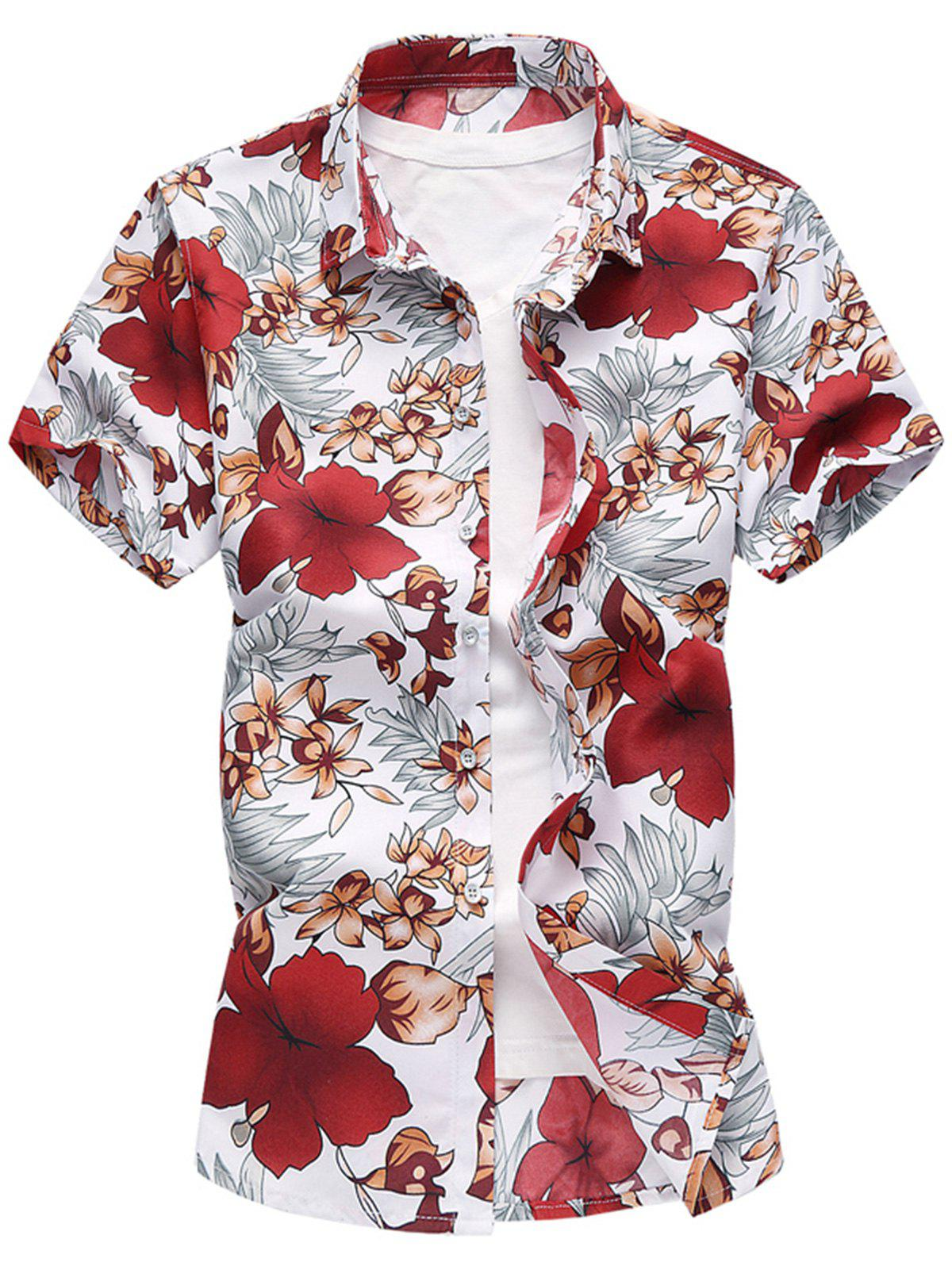 Shops Casual Leaves Floral Pattern Short Sleeve Shirt