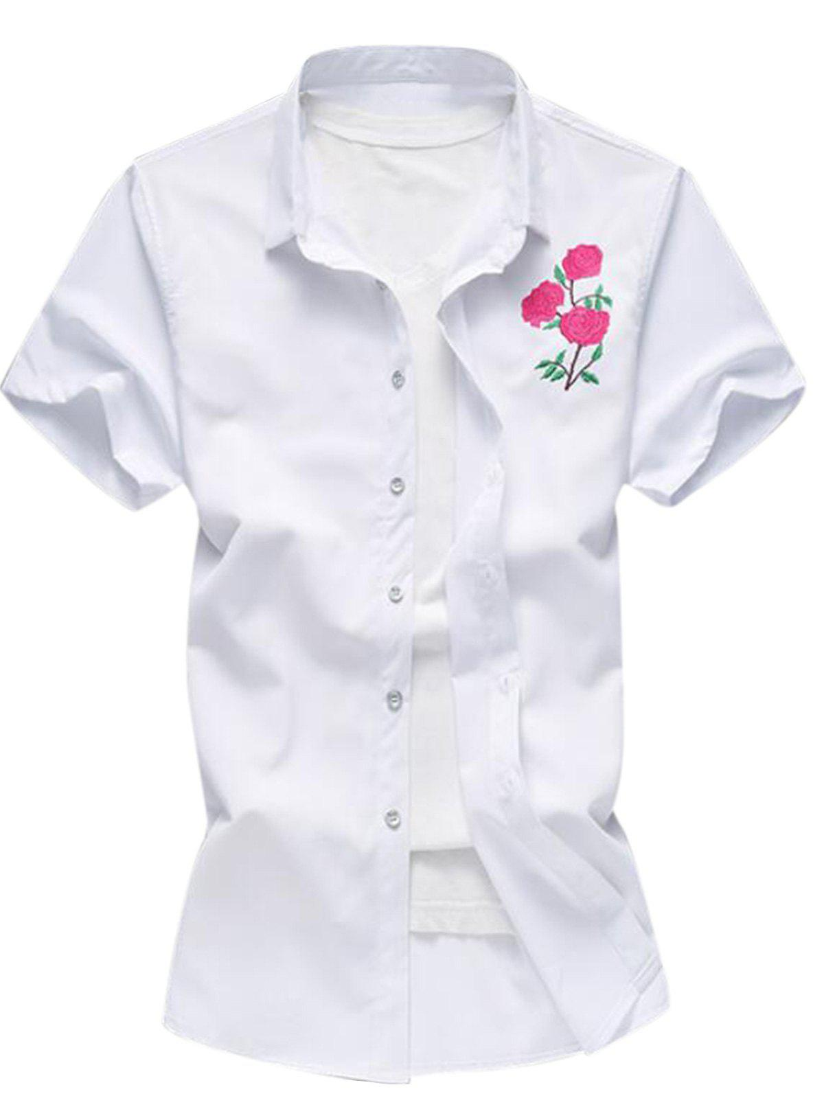 Sale Embroidered Turndown Collar Short Sleeve Shirt