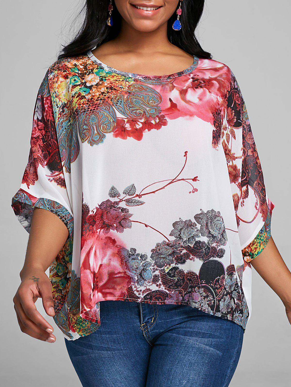 Outfit Batwing Sleeve Floral Chiffon Top