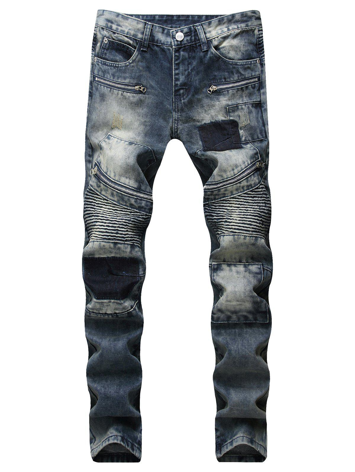 Affordable Casual Jeans with Zipper Decoration