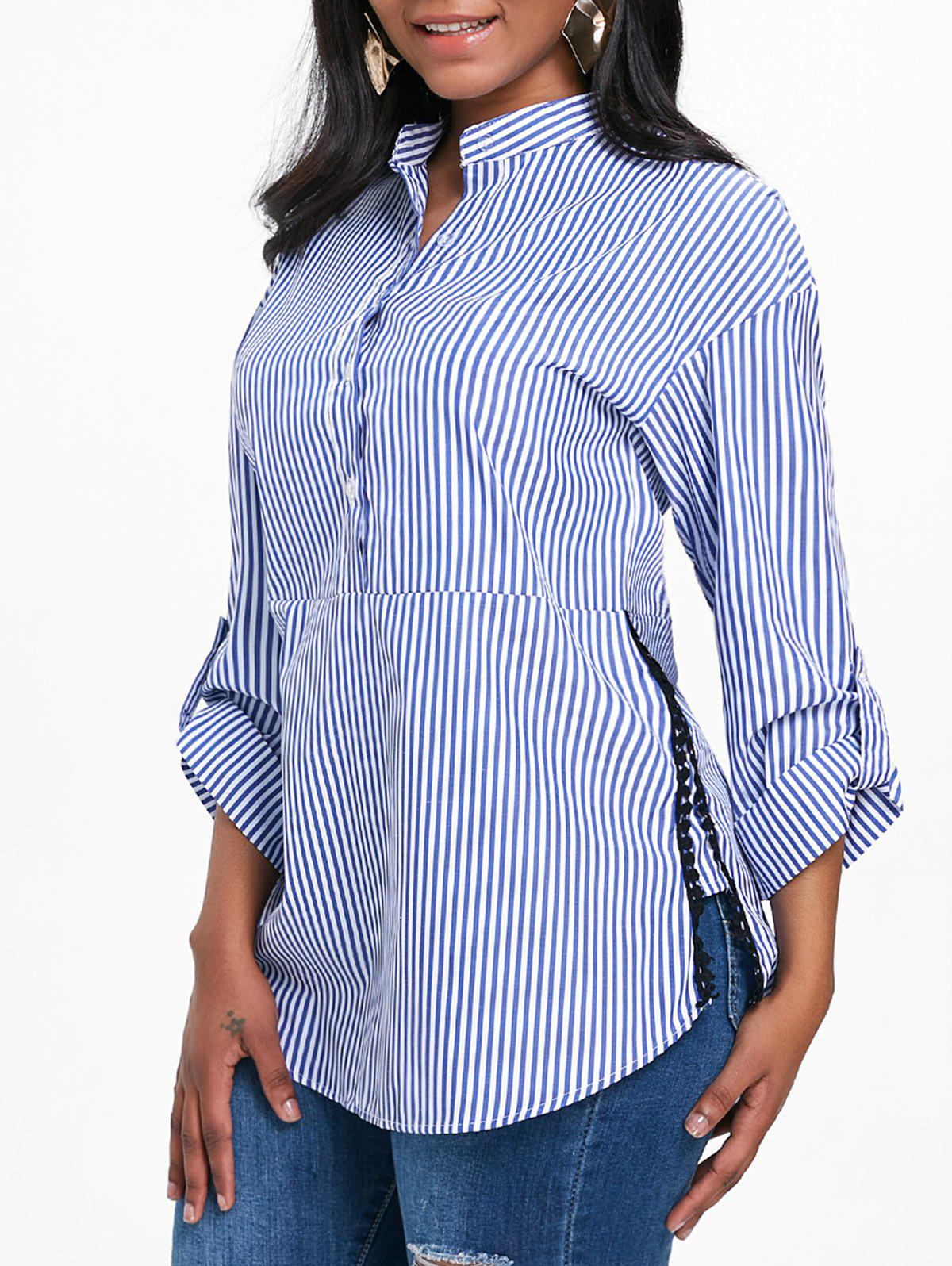 Outfit Stripe Slit Tunic Henley Blouse