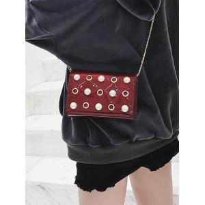 Eyelets Faux Pearls Crossbody Bag with Chain -