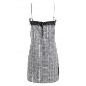 Lace Insert Plaid Cami Dress -