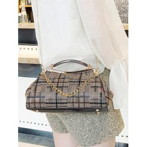 Geometric Plaid Pattern Top Handle Crossbody Bag -