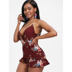 Sleeveless Floral Surplice Romper -