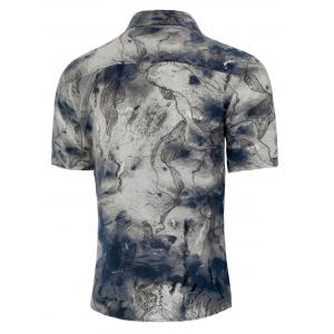 Chinese Ink Painting Print Button Up Shirt -