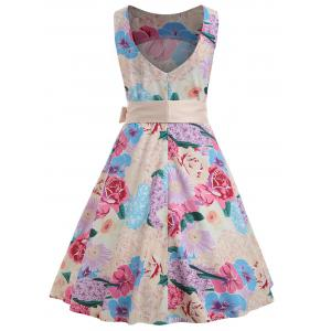 Vintage Floral Print Sleeveless A Line Dress -