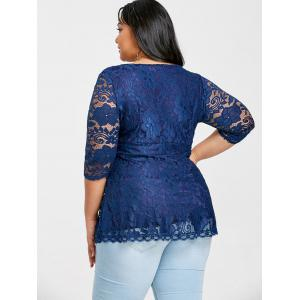 Plus Size Empire Waist Lace Surplice Blouse -