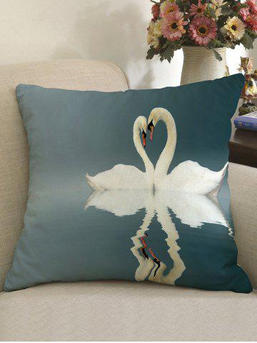 Shop Swans Heart Pattern Decorative Linen Sofa Pillowcase