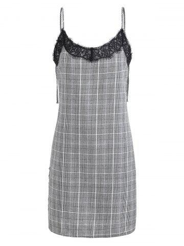 New Lace Insert Plaid Cami Dress
