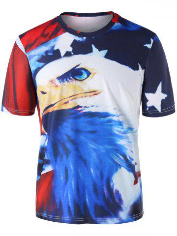 3D American Flag Eagle Print T-shirt