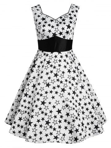 Buy Vintage Star Print High Waisted Flare Dress