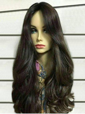 Chic Long Center Parting Colormix Wavy Synthetic Wig