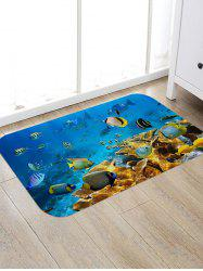 Underwater Fishes Pattern Anti-skid Water Absorption Area Rug -