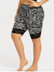 Plus Size Lace Panel Paisley Bermuda Leggings -