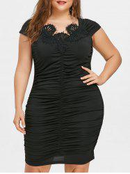 Plus Size Cap Sleeve Ruched Tight Dress -