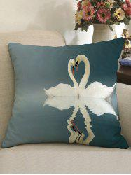 Swans Heart Pattern Decorative Linen Sofa Pillowcase -