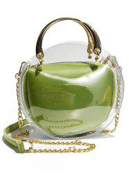 Oval Shape Waterproof Clear Top Handle Bag with Chain Crossbody Bag -