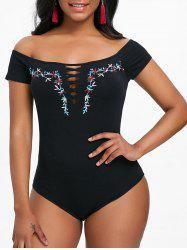 Off Shoulder Embroidered Cut Out Bodysuit -