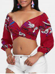 Plunging Neck Floral Print Crop Blouse -