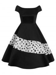 High Waisted Boat Neck Flare Dress -