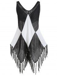 Semi Sheer Color Block Fringe Cover Up Top -