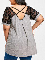 Lace Panel Plus Size Tunic T-shirt -
