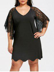 Lace Butterfly Sleeve Plus Size Straight Dress -