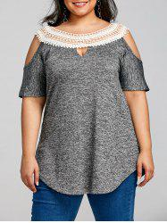 Cold Shoulder Plus Size Half Sleeve T-shirt -