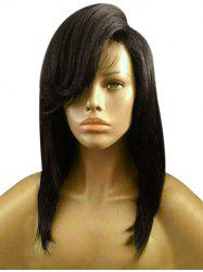 Medium Inclined Bang High Low Straight Bob Synthetic Wig -