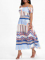 Bohemian Cold Shoulder Midi Cami Dress -