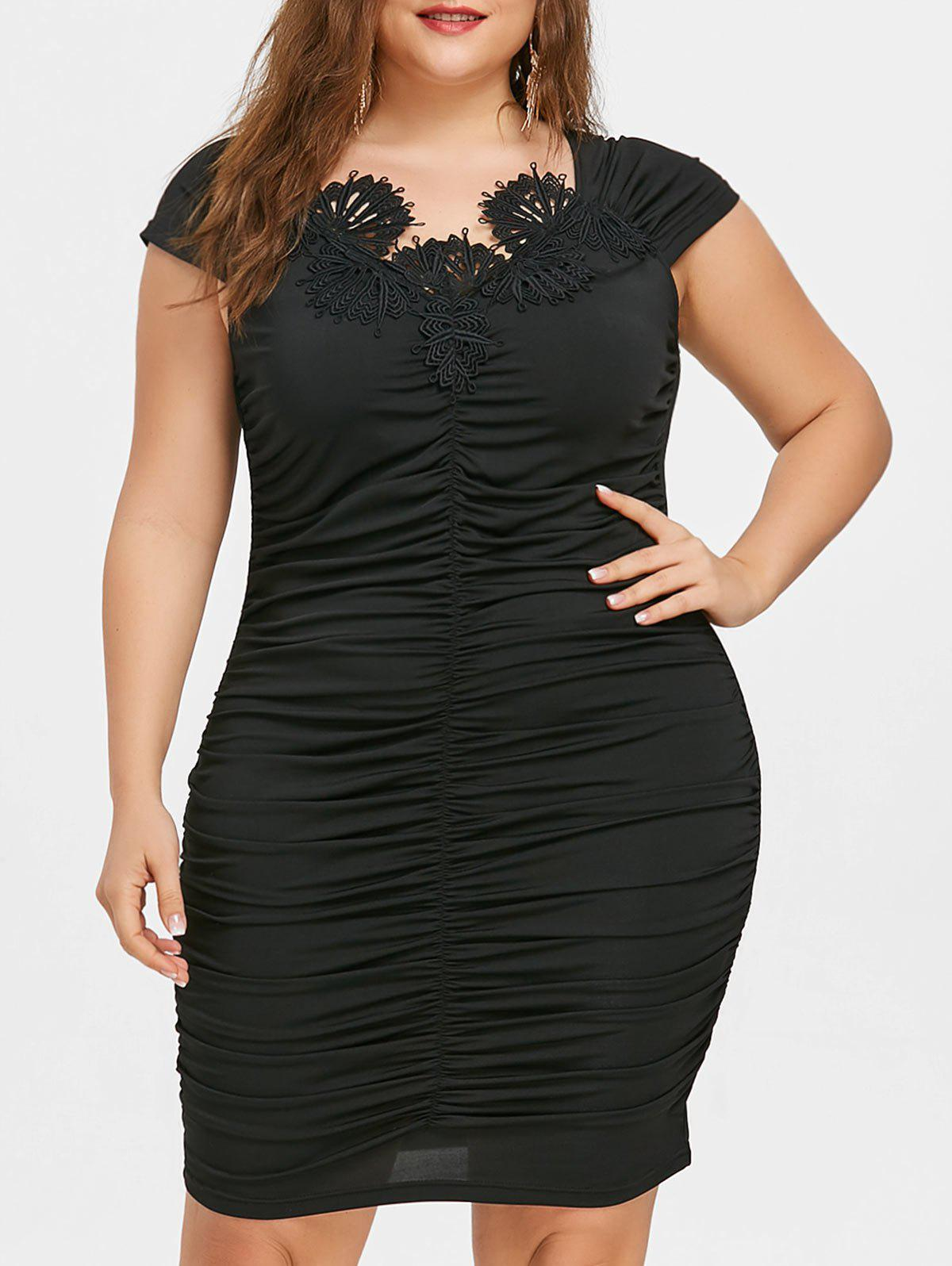 Store Plus Size Cap Sleeve Ruched Tight Dress
