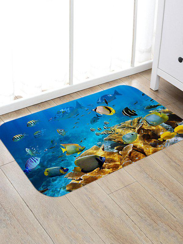 Fashion Underwater Fishes Pattern Anti-skid Water Absorption Area Rug