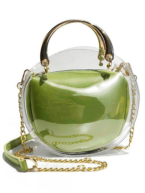 Store Oval Shape Waterproof Clear Top Handle Bag with Chain Crossbody Bag