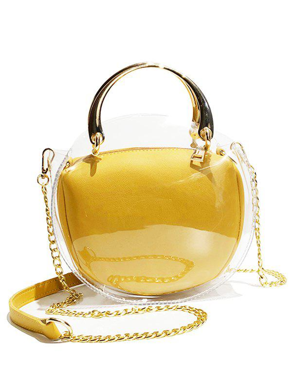 Hot Oval Shape Waterproof Clear Top Handle Bag with Chain Crossbody Bag