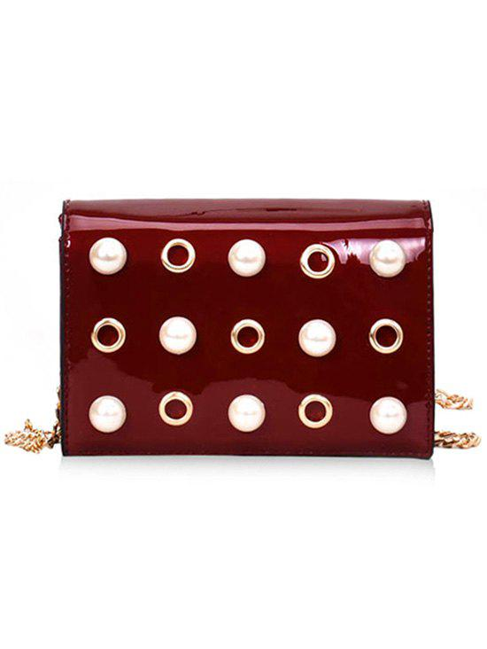 Chic Eyelets Faux Pearls Crossbody Bag with Chain