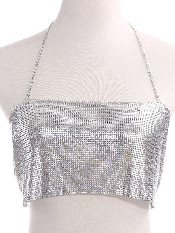 Outfits Rhinestoned Sequins Halter Bra Body Chain