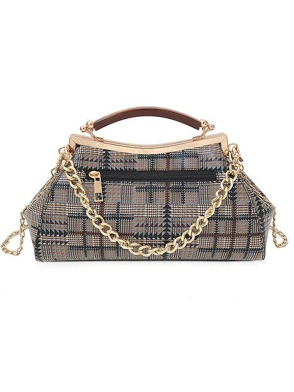 New Geometric Plaid Pattern Top Handle Crossbody Bag