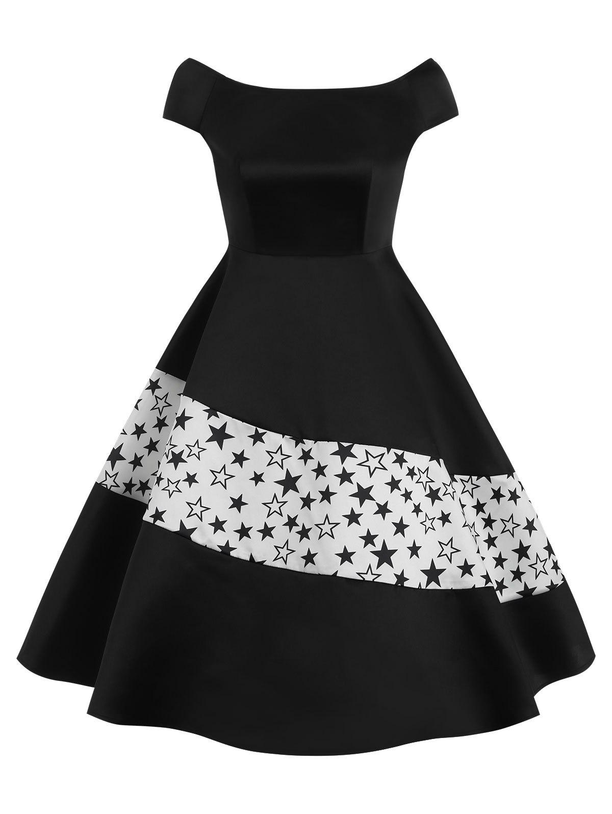 Affordable High Waisted Boat Neck Flare Dress