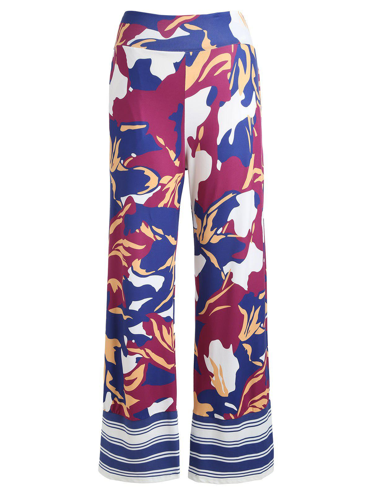 Trendy Printed High Waisted Wide Leg Pants