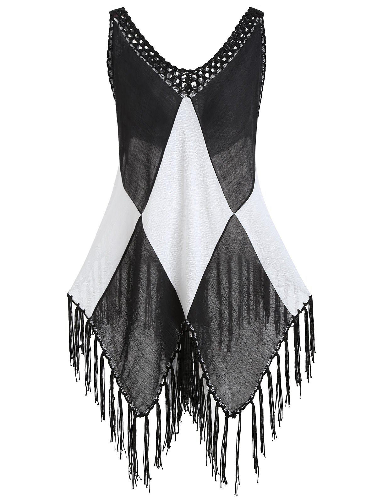 Affordable Semi Sheer Color Block Fringe Cover Up Top