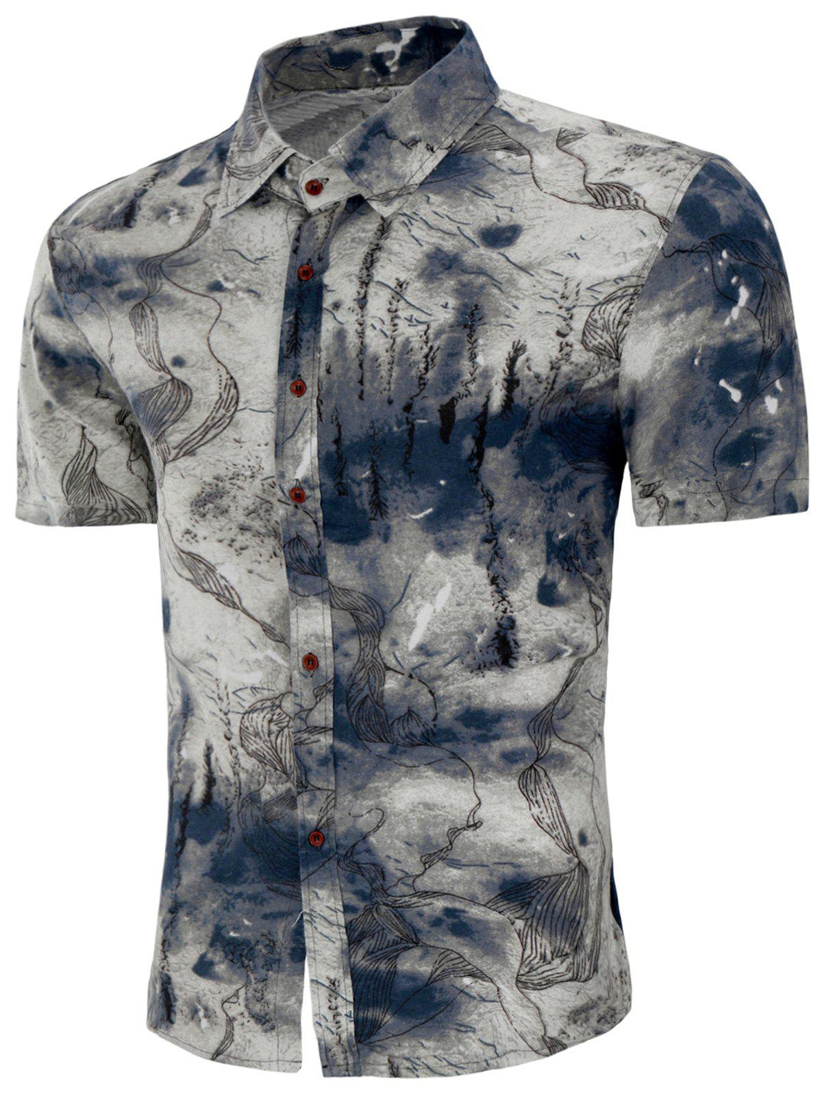 Trendy Chinese Ink Painting Print Button Up Shirt