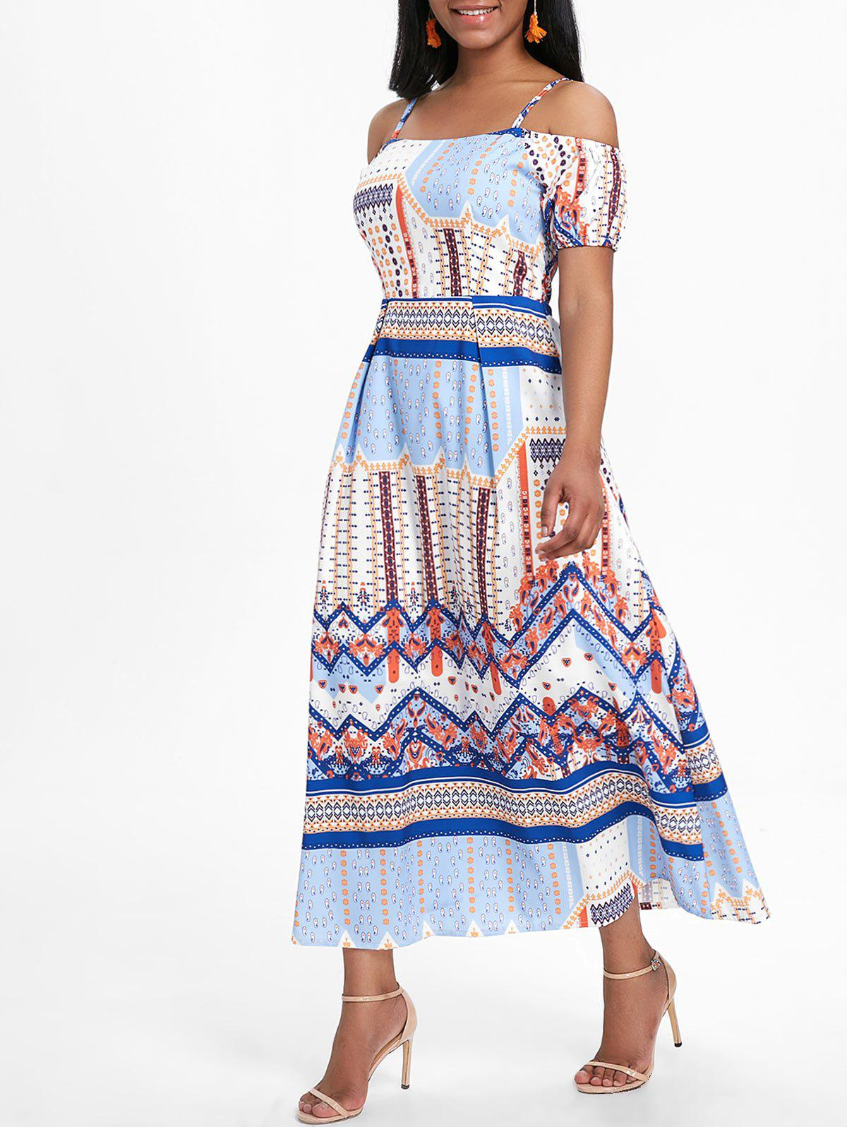Fancy Bohemian Cold Shoulder Midi Cami Dress