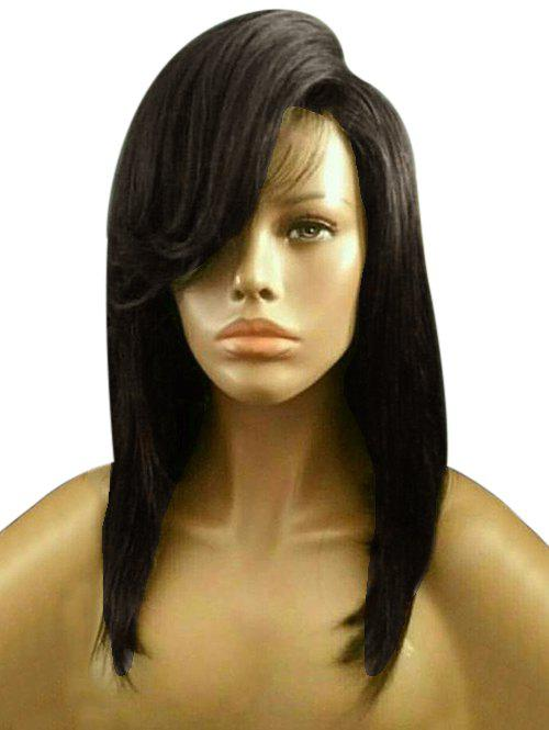 Discount Medium Inclined Bang High Low Straight Bob Synthetic Wig