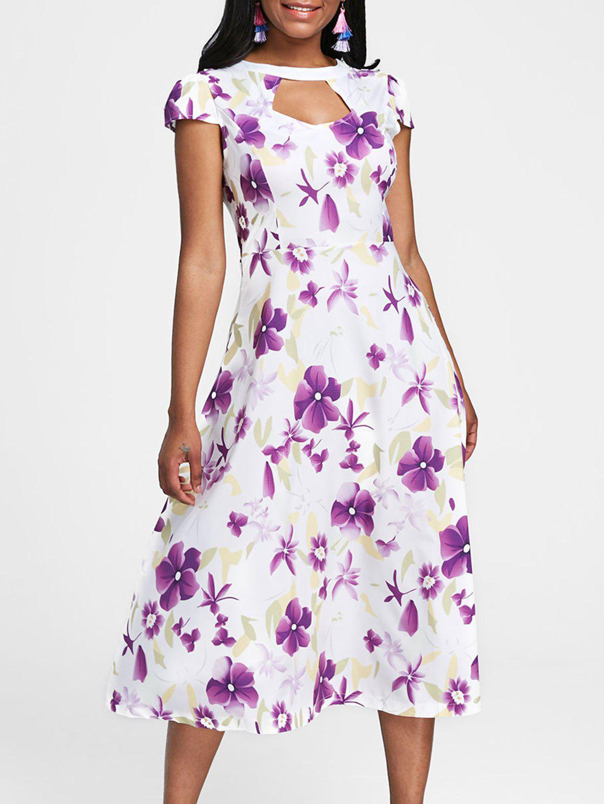 Fancy Short Sleeve Cut Out Floral Print Dress