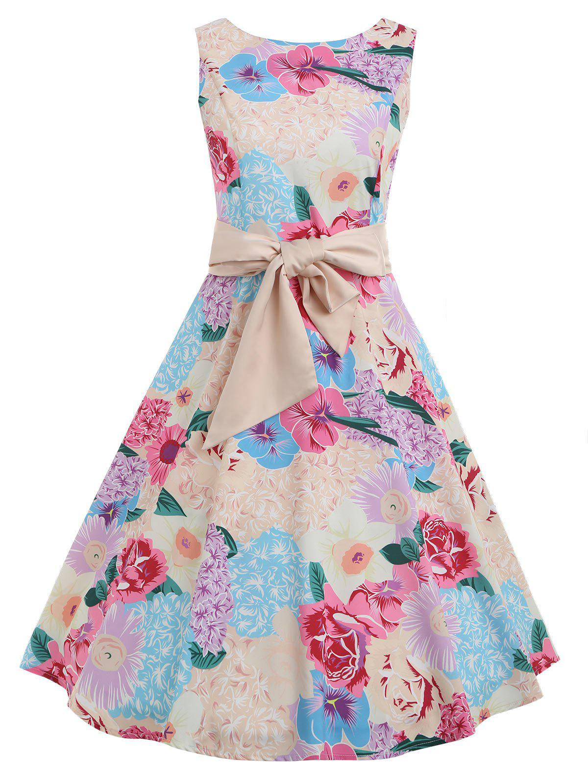 Online Vintage Floral Print Sleeveless A Line Dress