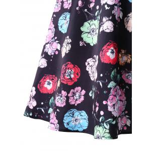 Floral Print Plus Size Fit and Flare Dress -