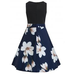 Color Block Floral Print A Line Dress -