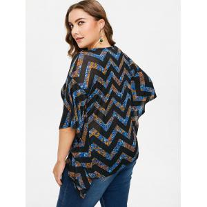 Plus Size Zig Zag Lace Up Blouse -