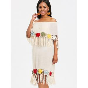 Summer Fringed Crochet Insert Cover Up Dress -
